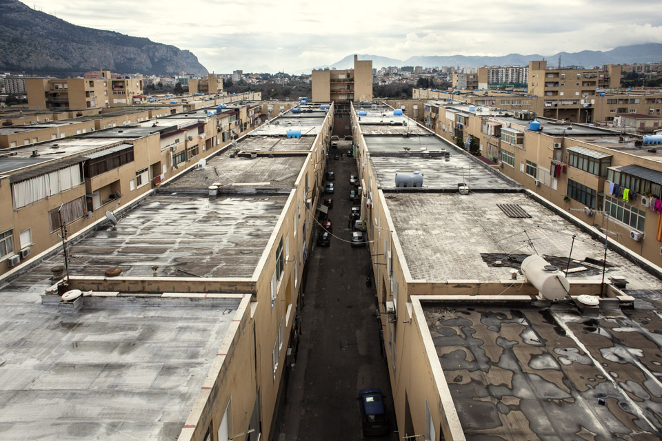 ZEN rooftops. Z.E.N. stands for Zona Espansione Nord (North Expansion Zone). A project of the late 60's and 70's that was supposed to be a perfect neighbourhood not far from downtown Palermo. An Architectural dream that became a social nightmare of petty crime, drug dealers.